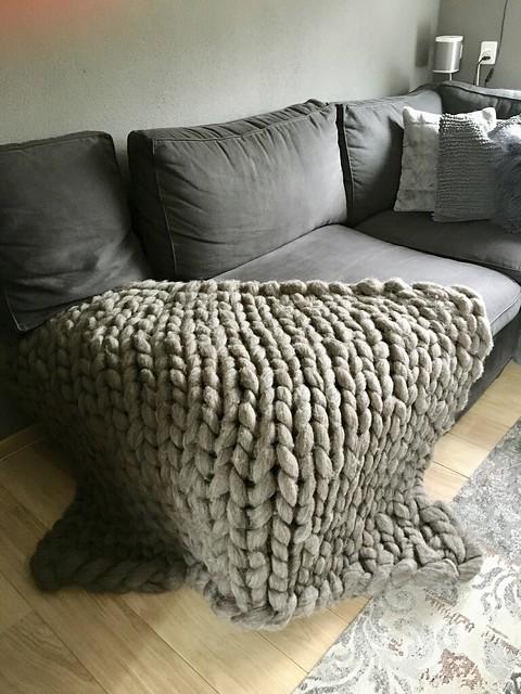 Hoekbank, gehaakte deken