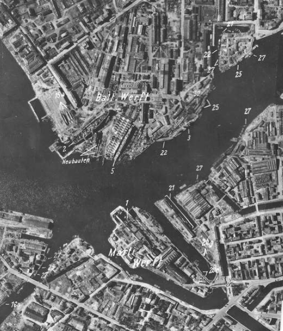 Luftwaffe aerial reconnaissance photo of the Ordzhonikidze and Marti (No. 194) Shipyards in Leningrad taken on July 7, 1941.