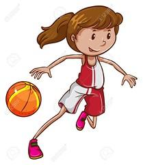 A girl playing basketball