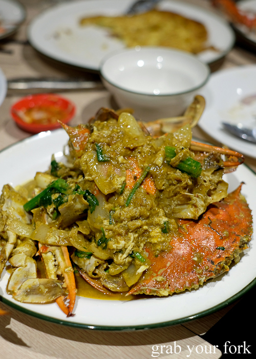 Crab curry sauce at the all-you-can-eat crab festival at Yok Sod Thai at Mr B's in Haymarket Sydney
