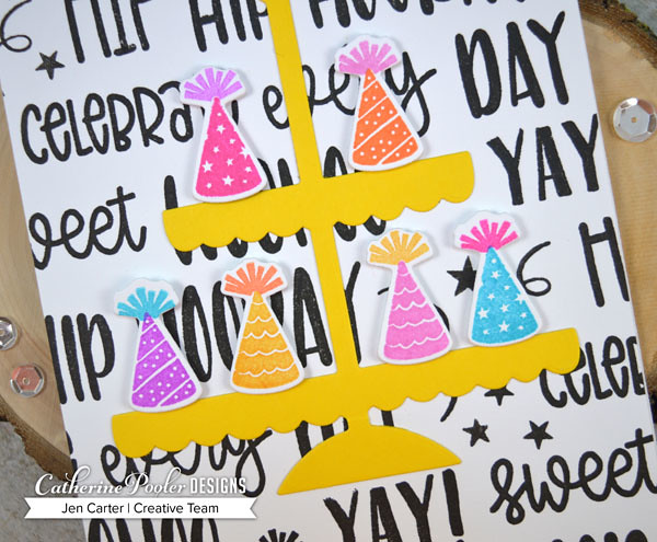 Jen Carter CP WooHoo Eat Cake Cupcake Stand Party Hats Closeup