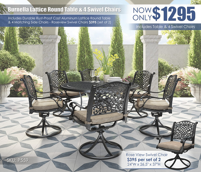 Burnella Round Table & Swivel Chairs_P559-602A(6)-P456-650