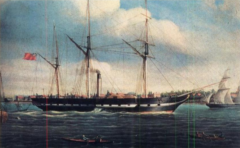 Painting of SS Royal William, circa 1834. Published in Samuel Cunard: Nova Scotia's Master of the North Atlantic by John Boileau (Publisher: Formac, 2006) p48