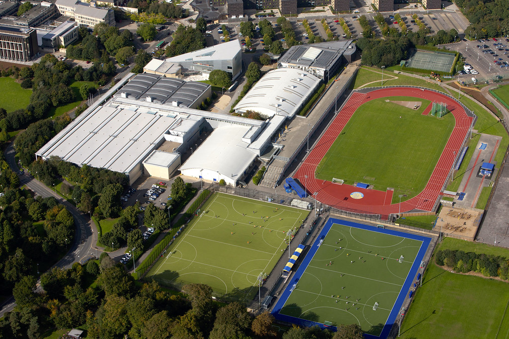An arial view of the Sports Training Village at the University of Bath campus