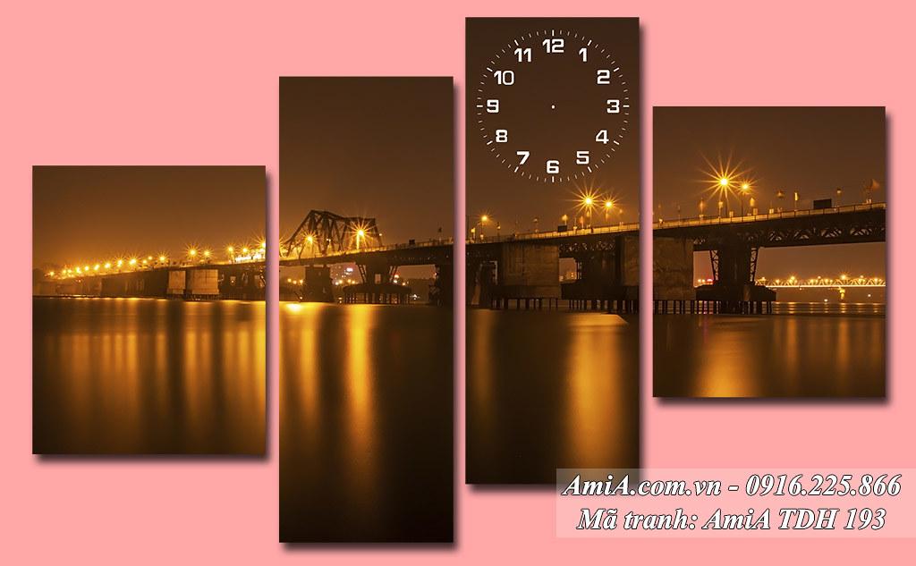 AmiA 193 - Tranh phong cảnh đẹp Hà Nội cầu long biên về đêm