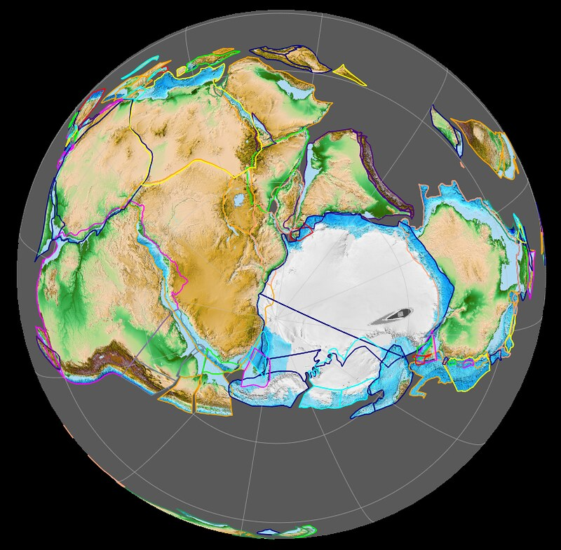 Gondwana centered on South Pole