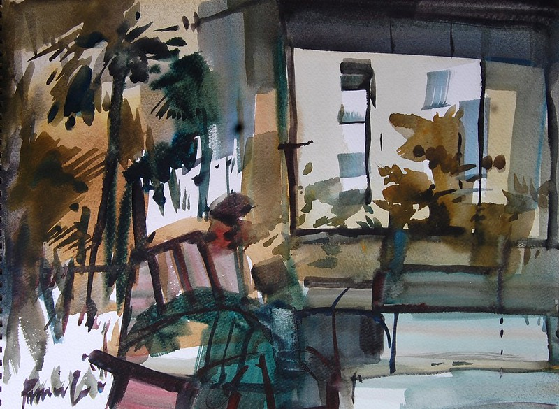 Water colour, size-22cmx50cm,  Title-my house(1)