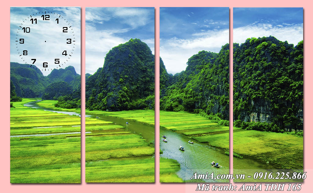 AmiA 165 - Tranh phong cảnh đẹp quê hương Tràng An Việt Nam