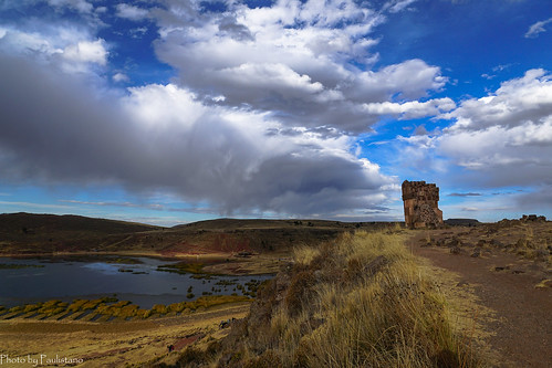 travel peru sillustani andes altiplano sky umayo lake