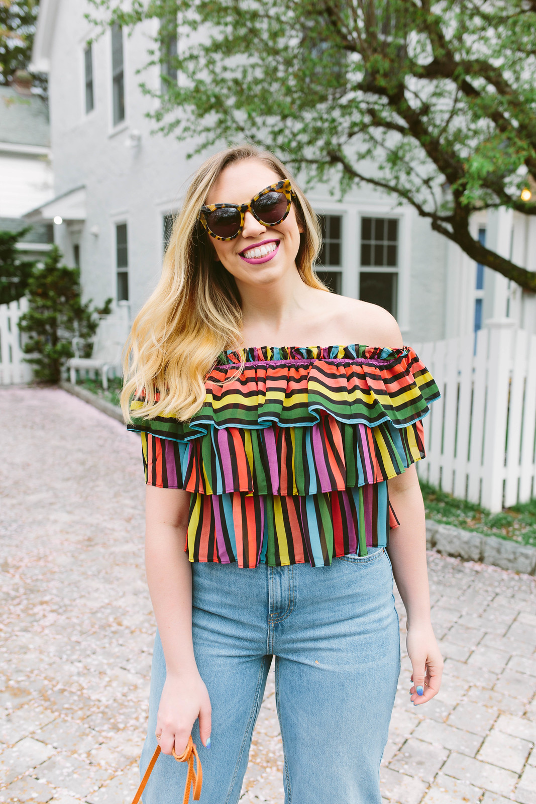 Rainbow Striped Crop Top Topshop High Waist Wide Leg Crop Jeans Spring Summer Outfit Inspiration Jackie Giardina