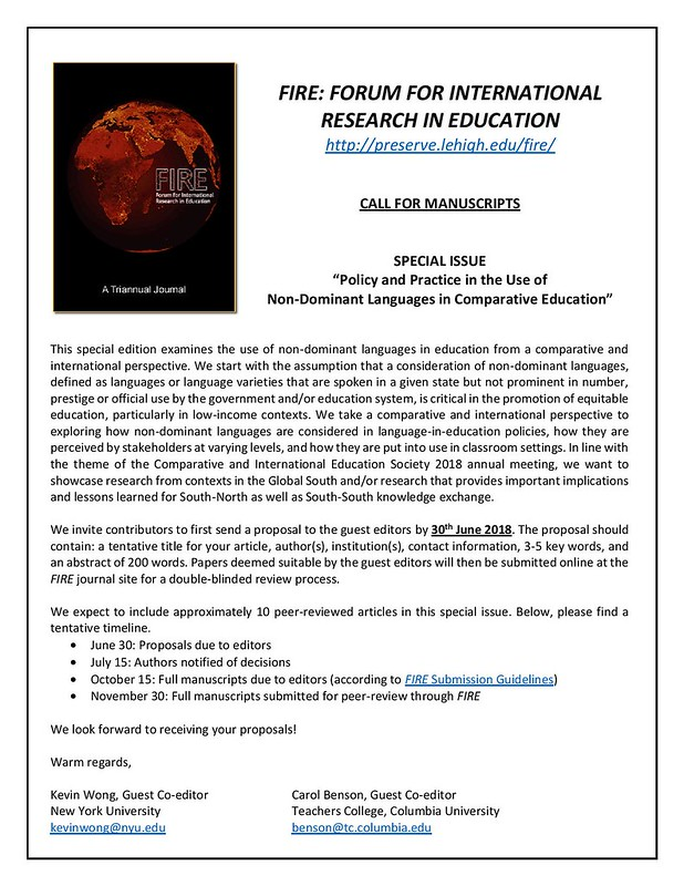 FIRE Special Issue_Call for Manuscripts_June2018