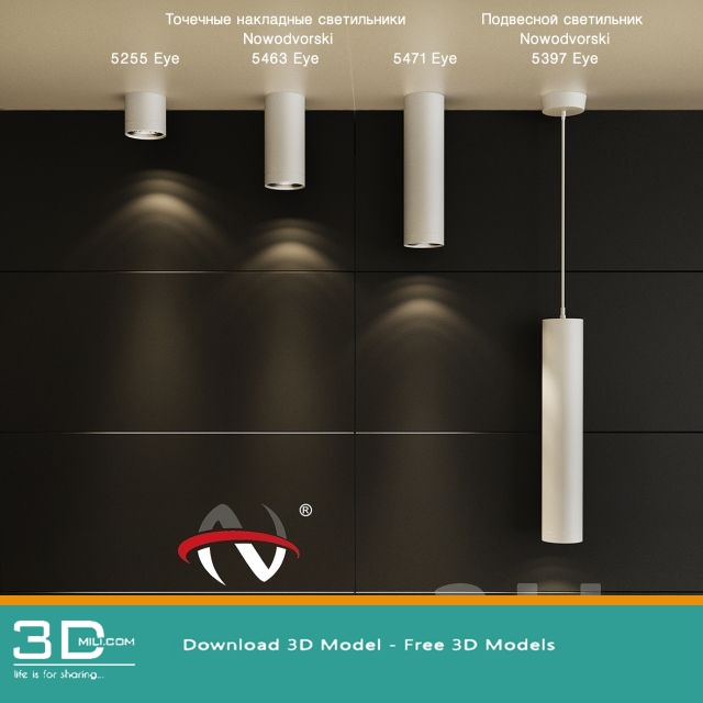 07  Spot lights 3D model free download - 3D Mili - Download