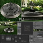Garden Art Fountain Blender 3D