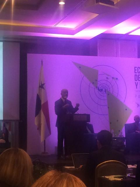 Secretário Marcelo Caetano fala durante o Seminário Internacional Economía del Comportamiento y Educación Previsional, promovido pelo BID e pela AIOS no Panamá. 17.abr.2018