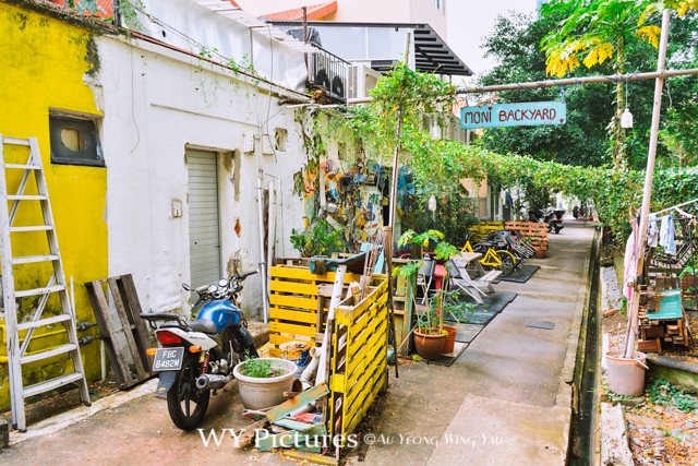2018 Singapore. A back alley of colonial era shop houses was made into a little garden by owners.