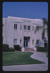 Masonic Temple, angle view, Mineral King Avenue, Visalia, California (LOC)