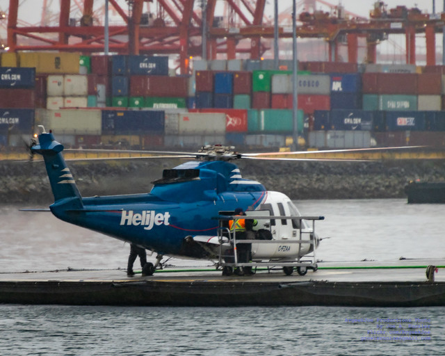 Unloading the Helijet S-76A in the Vancouver Rain