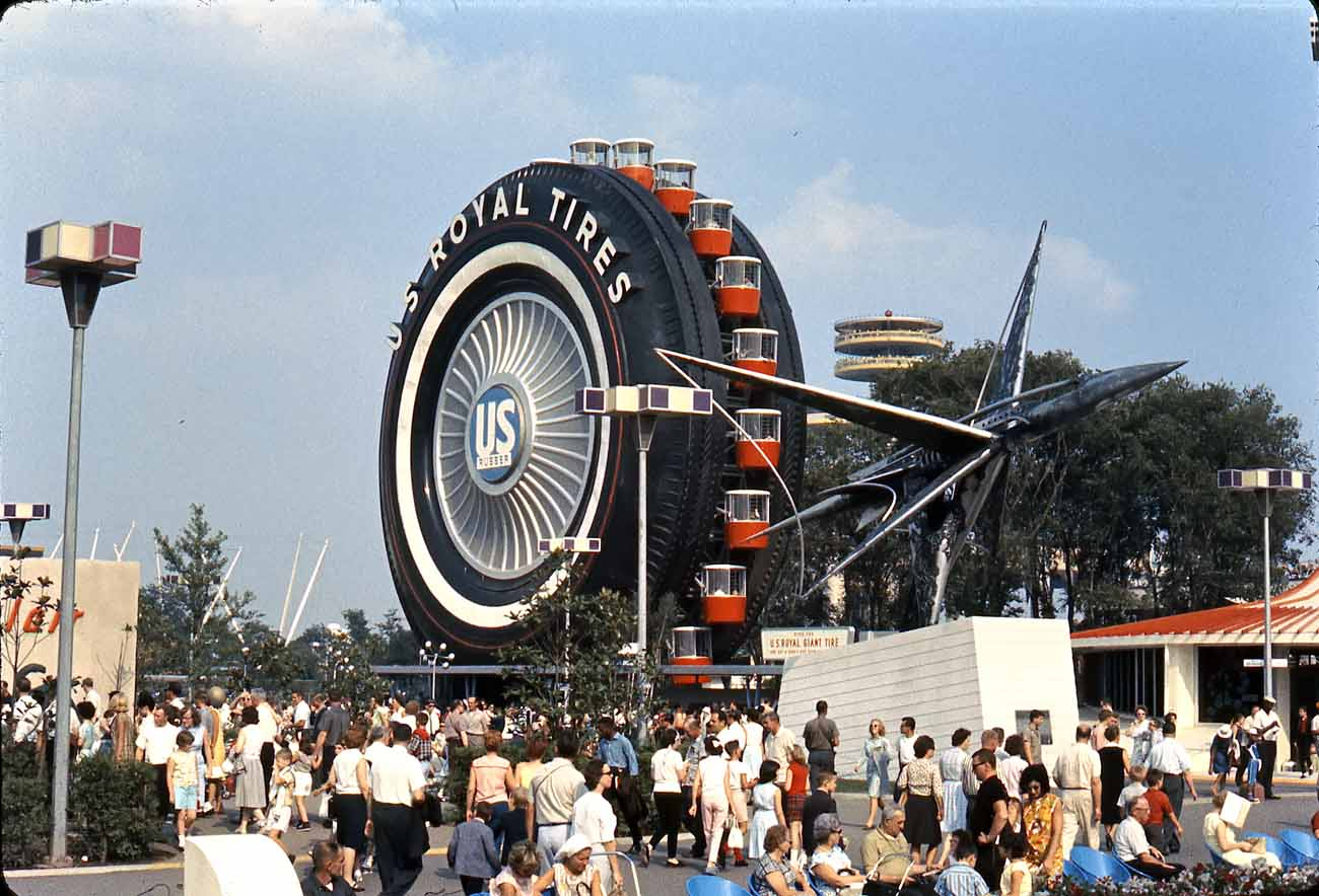 The US Royal Tires Ferris wheel was a part of the Travel & Transportation Pavilion at the 1964-1965 New York World's Fair.