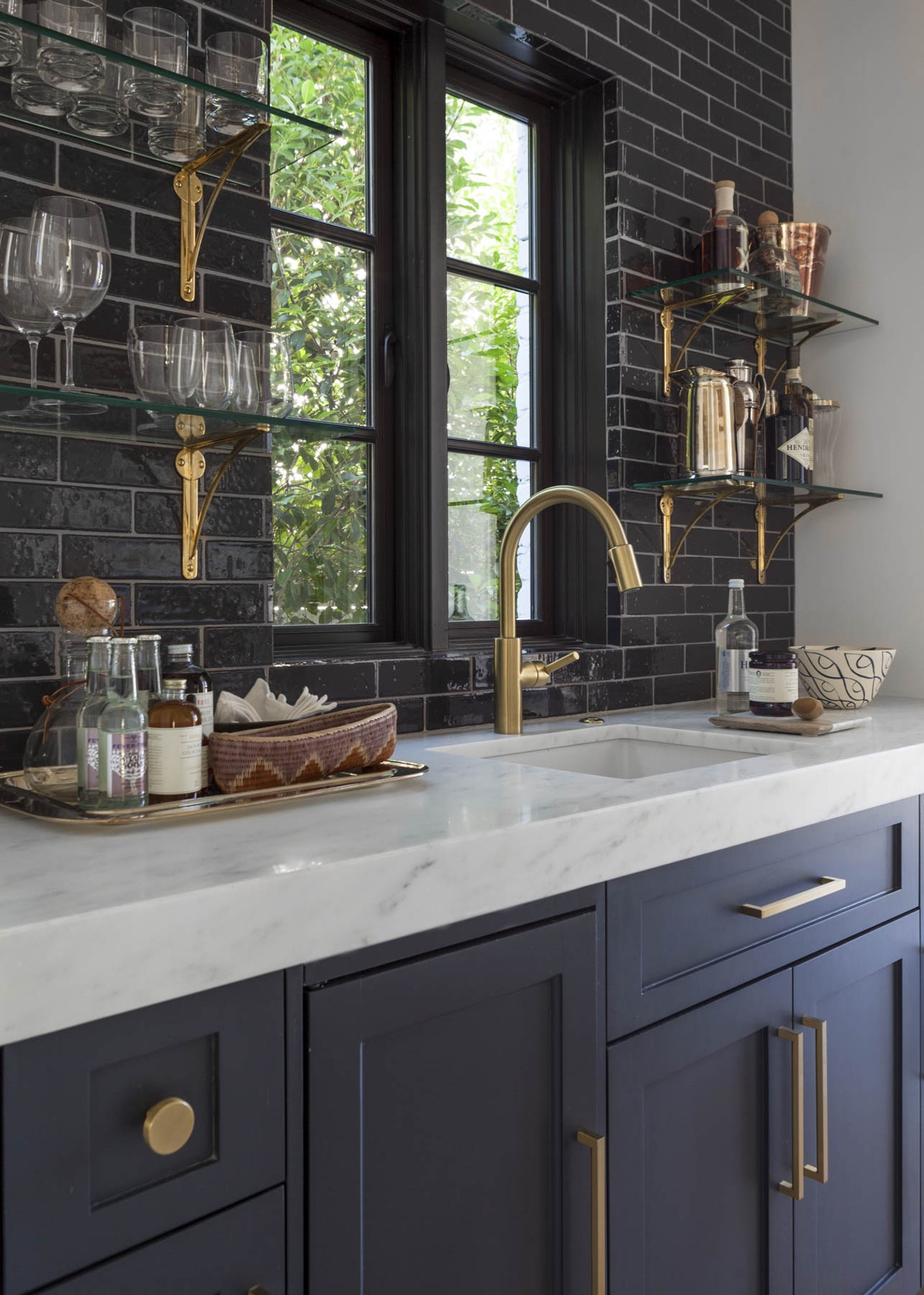 Black Subway Tile Backsplash White Marble Countertop Gold Hardware Benjamin Moore Raccoon Fur Painted Kitchen Cabinets Home Design