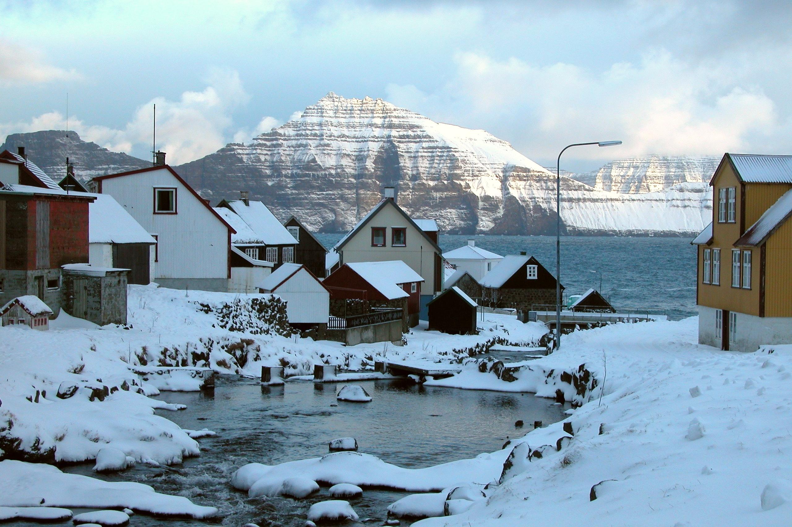 Winter at Gjógv in Eysturoy, Faroe Islands. Photo taken in January 2004.