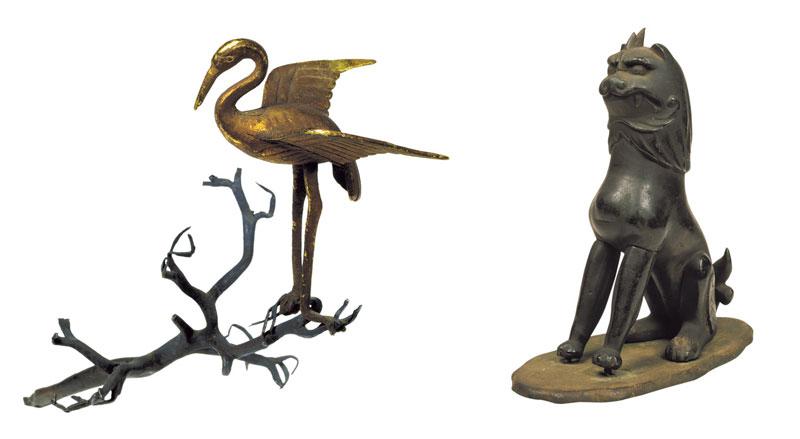 左)若宮御料古神宝類《金鶴及銀樹枝》(平安時代、春日大社) 右)若宮御料古神宝類《銅造狛犬》(平安時代、春日大社)
