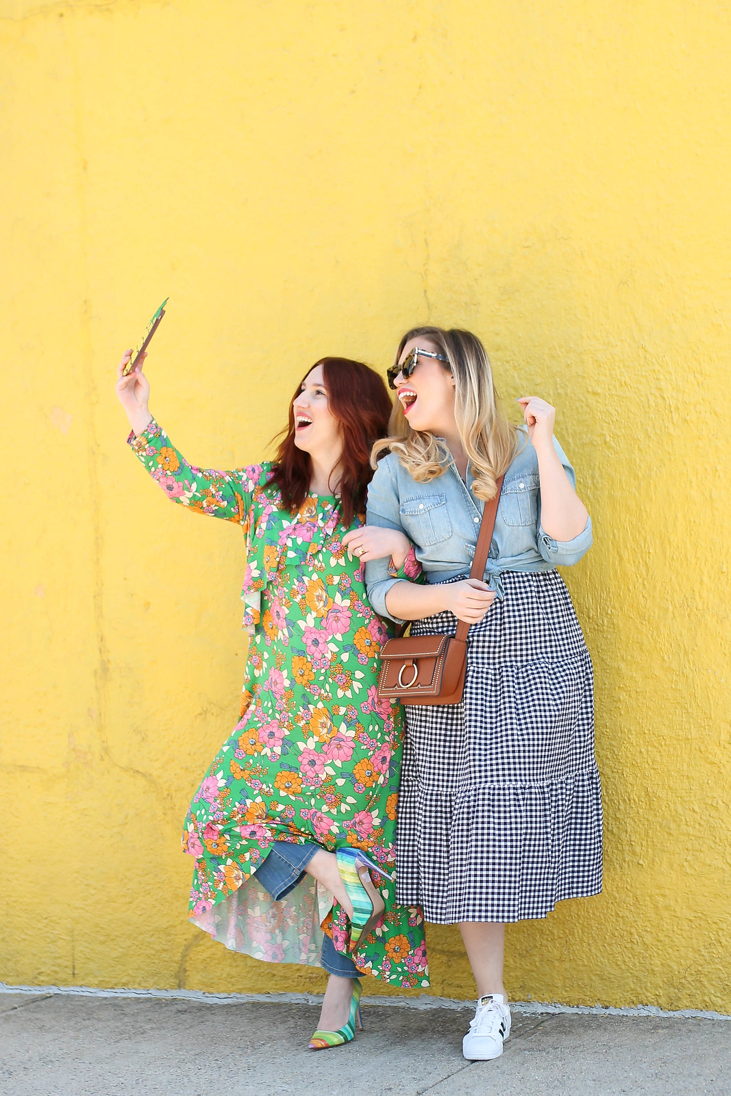 Bloggers Taking a Selfie Yellow Wall New York City Floral Dress Gingham Dress Fashion Blogger Friends