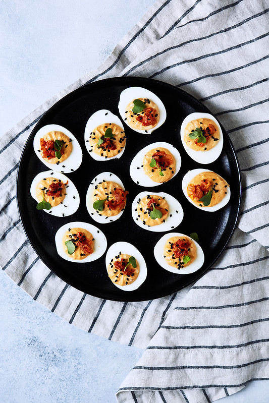 Probiotic Deviled Eggs // Eggs with Culture Two Ways: Sauerkraut and Kimchi