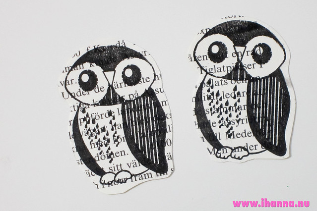 Stamped and cut out owl ephemera - tutorial by iHanna