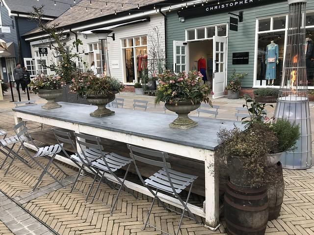 Bicester Village, long garden table