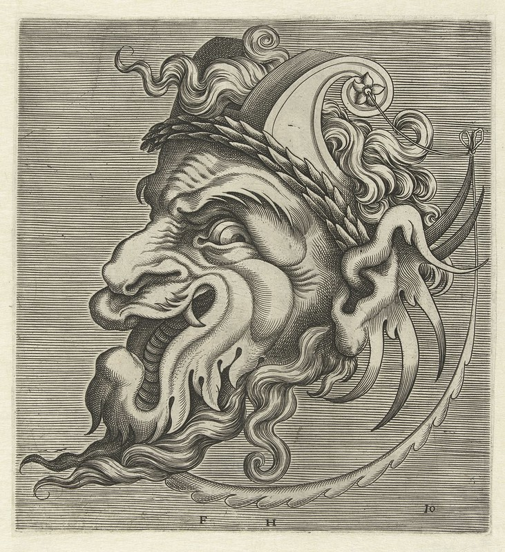 002-Flemish mask designs in the grotesque style 1555- Cornelis Floris- Rijksmuseum