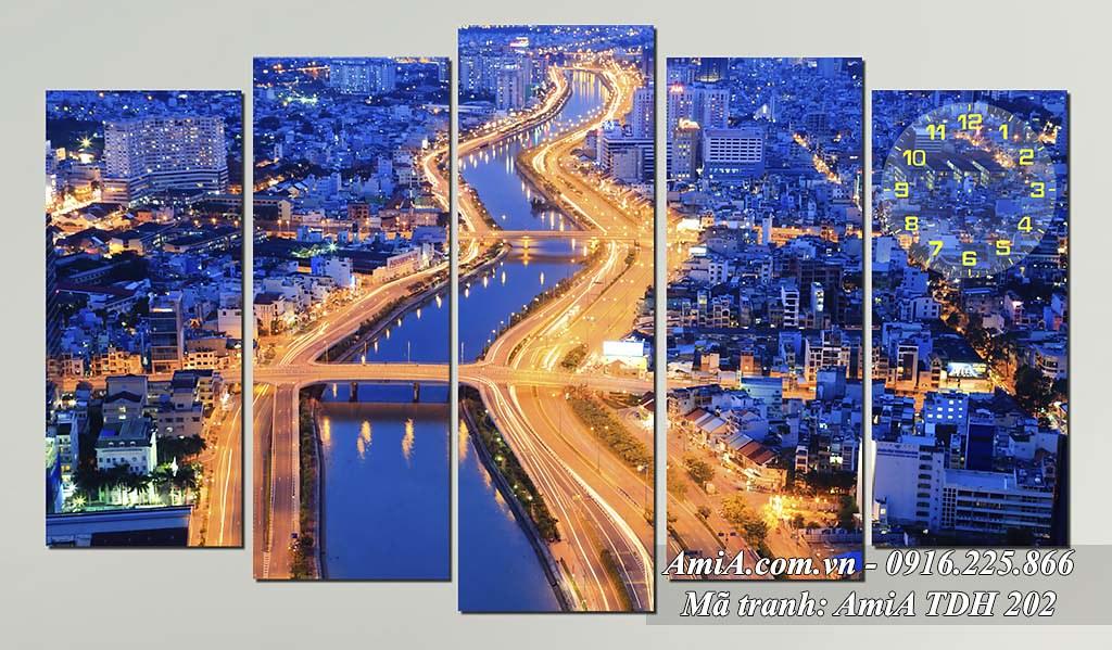 AmiA 202 - Tranh quê hương hiện đại sông sài gòn về đêm