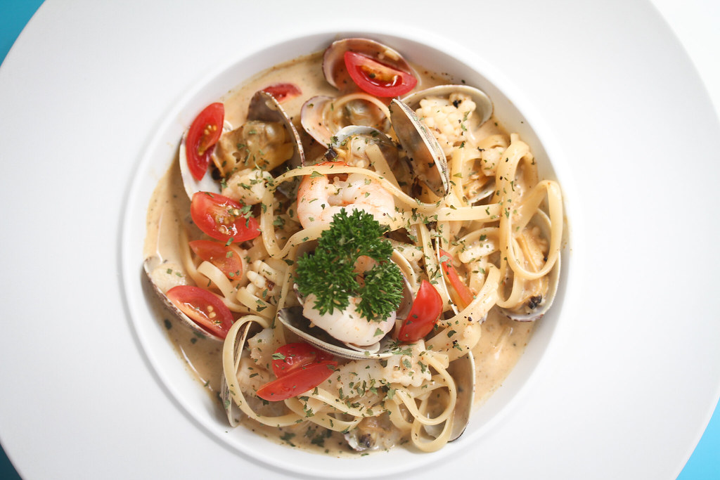 pasta in singapore - Seafood Tom Yum Pasta (Top View)