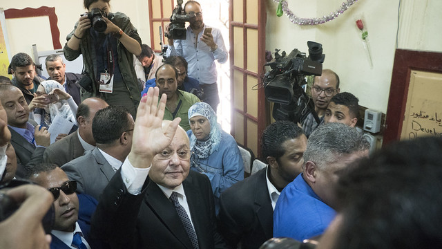 Presidential Candidate Moussa Moussa at a Polling Station in Egypt's presidential elections