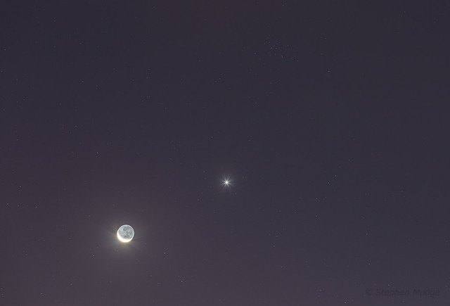 Moon Venus and the Butterfly Cluster (M44)