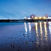 South Parade Pier lights reflected