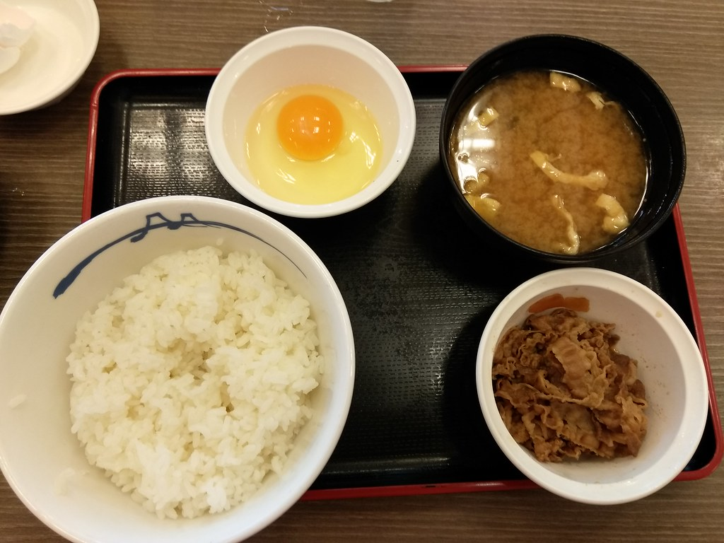 egg and rice morning set at matsuya, mitaka