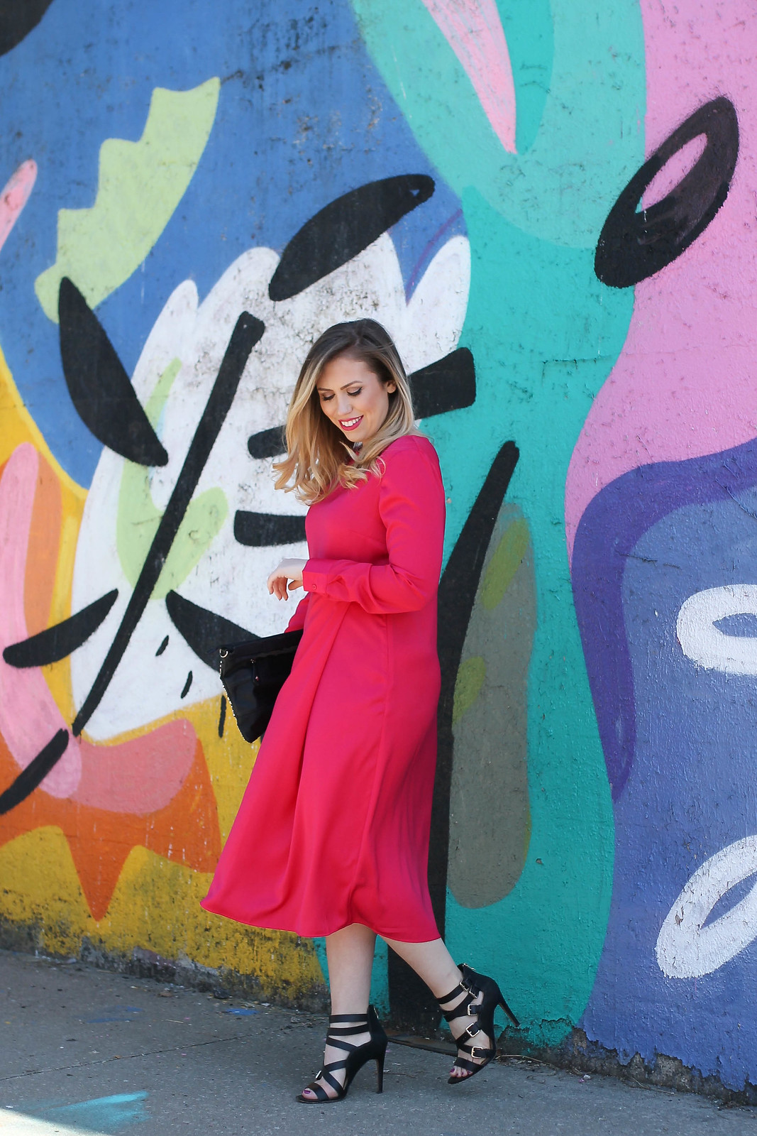 Modest Fashion Who What Wear Hot Pink Long Sleeve Midi Dress Outfit Target Style Living After Midnite Jackie Giardina Blogger