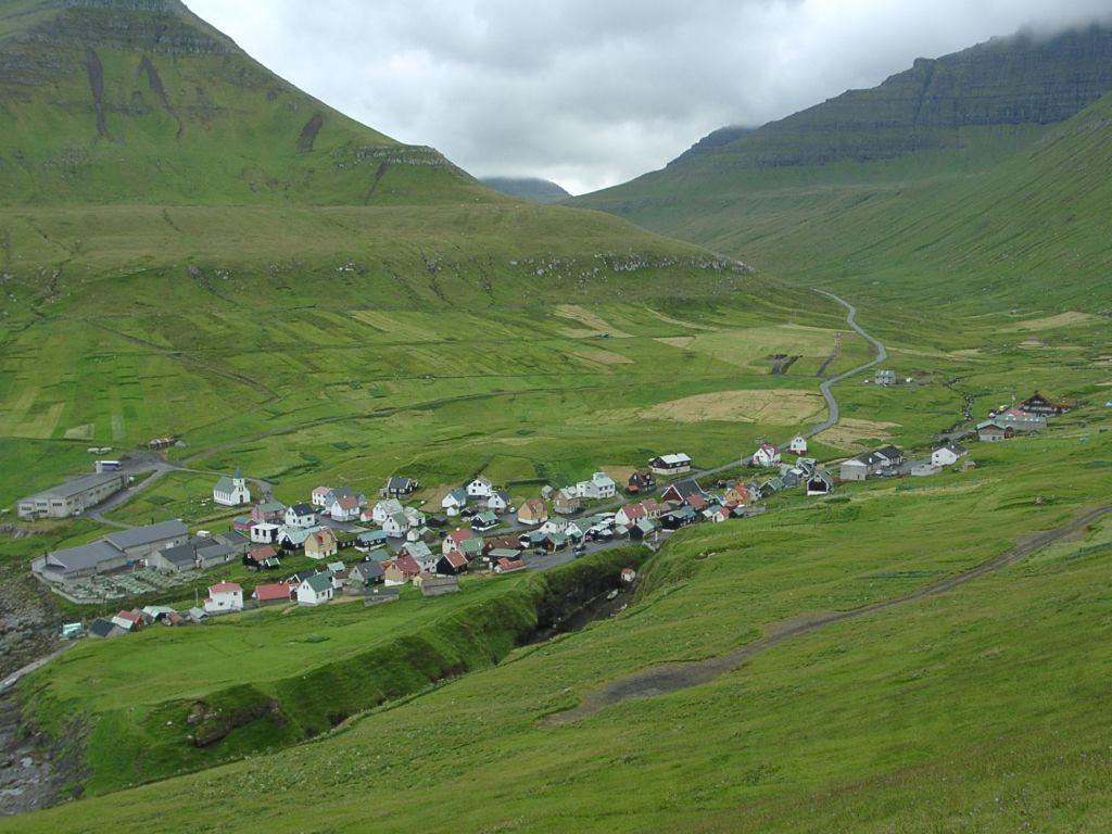 Village of Gjógv on Esturoy, Faroe Islands. Photo taken by Matija Podhraški on August 12, 2003.