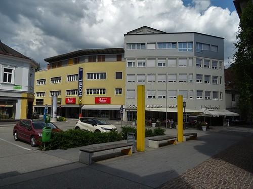 Wolfsberg, Carinthia, state of Austria (the art of public places of Wolfsberg), Wiener Straße/Hermann-Fischer-Straße (Hotel Hecher)