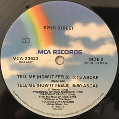 52ND STREET:TELL ME(HOW IT FEELS)(LABEL SIDE-B)