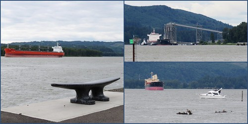 bench boat cleat columbiariver compositionallychallenged freighter kalama port ship triptych water washington