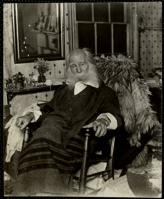 Walt Whitman photographed in the last few months of his life in 1891.