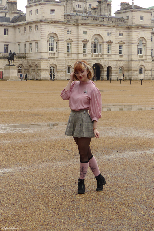 dusty rose outfit les miserables pussy bow vintage 60s mini skirt london