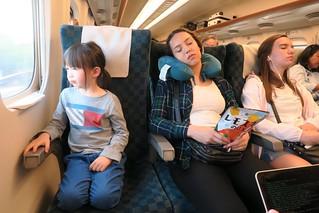 Garcia Girls sleeping on Shinkansen