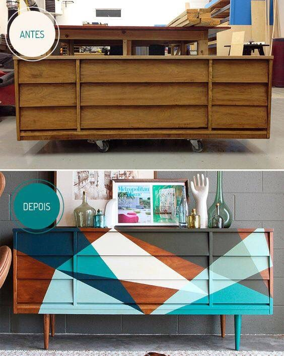 Geometric patterns on a dresser. Before and after picture of a painted dresser.
