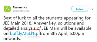 JEE Main 2018 Answer Key Time of Release