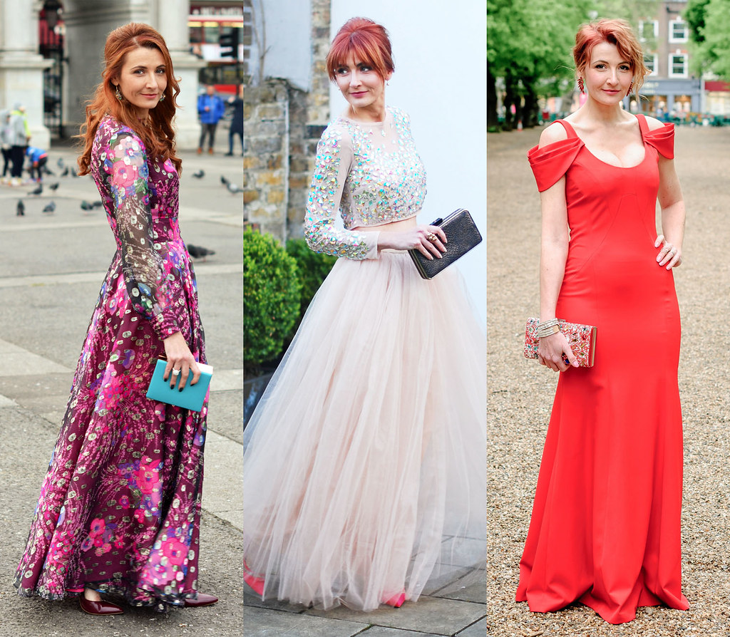 My Awards Hopes for 40 Plus Bloggers: Not Dressed As Lamb red carpet dresses (vintage 1970s patterned dress, crystal-covered crop top and tulle skirt, red full length gown)