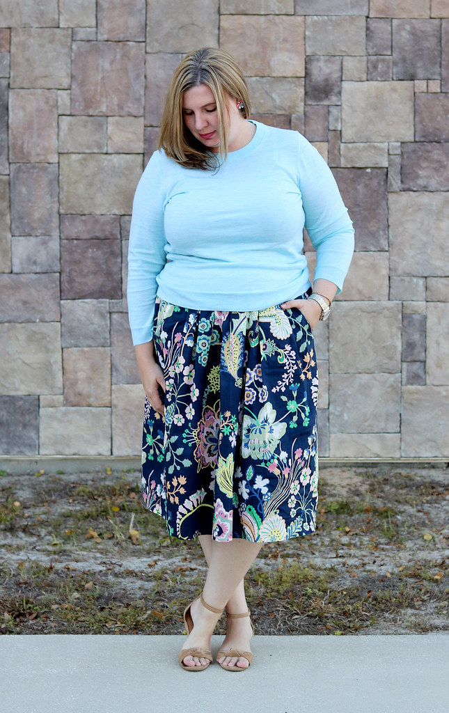 floral cotton midi skirt, aqua tippi, nude wedge sandals 7