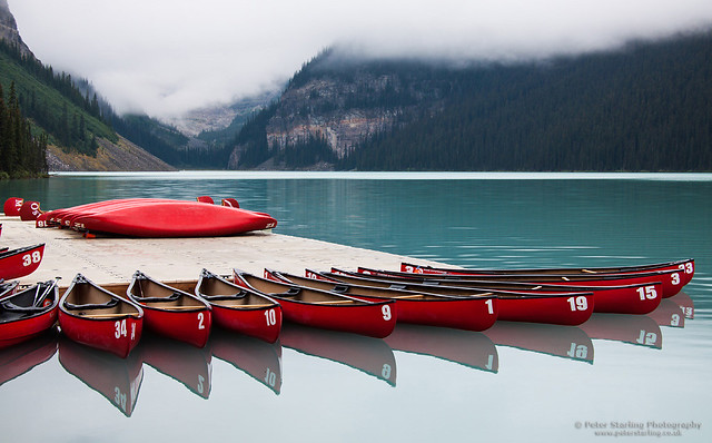 Canoes and Cloud at Lake Louise