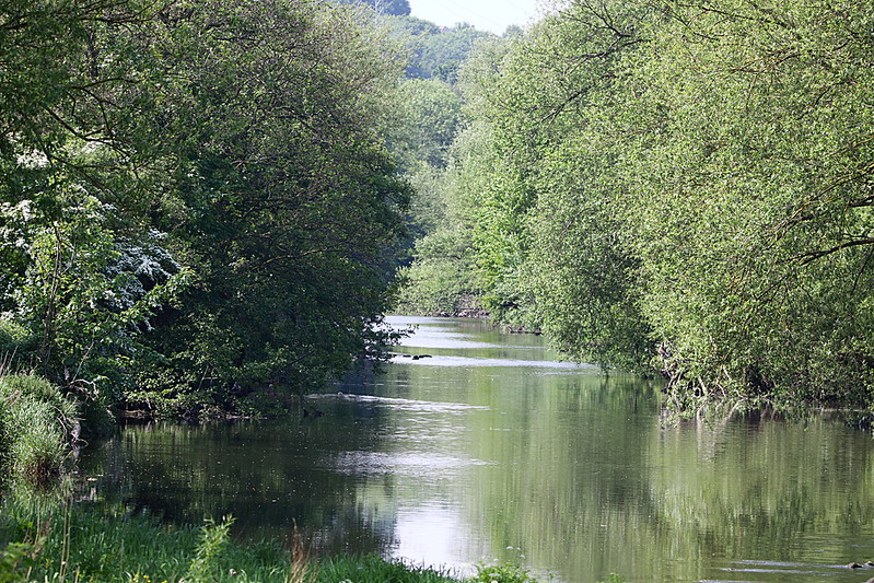 View up river from Buck Lane foorbridge